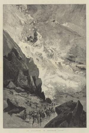 An Avalanche in Northern Italy-Charles Auguste Loye-Stretched Canvas Print