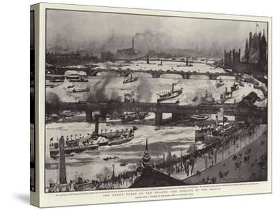 The Penny Fleet of the Thames, the Opening of the Season-Charles Edward Dixon-Stretched Canvas Print