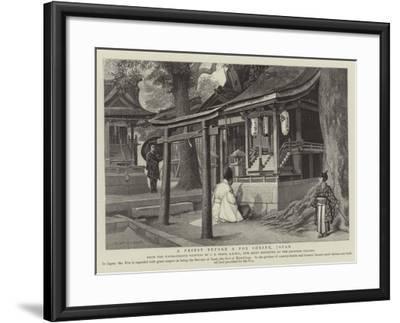 A Priest before a Fox Shrine, Japan-Charles Edwin Fripp-Framed Giclee Print