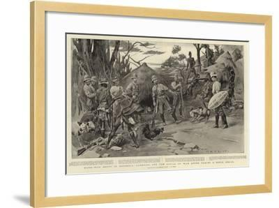 Hard-Won Booty in Rhodesia, Carrying Off the Spoils of War after Taking a Kopje Kraal-Charles Edwin Fripp-Framed Giclee Print
