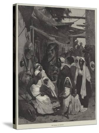 The Bazaar at Assouan-Charles Auguste Loye-Stretched Canvas Print