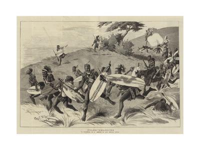 Zulus Charging-Charles Edwin Fripp-Framed Giclee Print