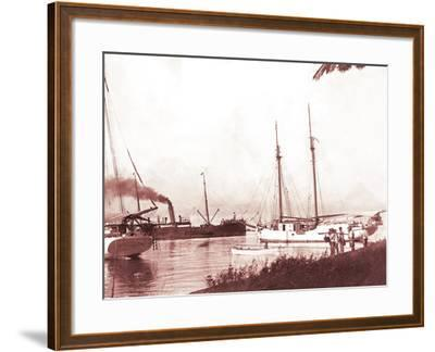 Papeetee Harbor, 1870s, Tahiti, Late 1800s-Charles Gustave Spitz-Framed Photographic Print