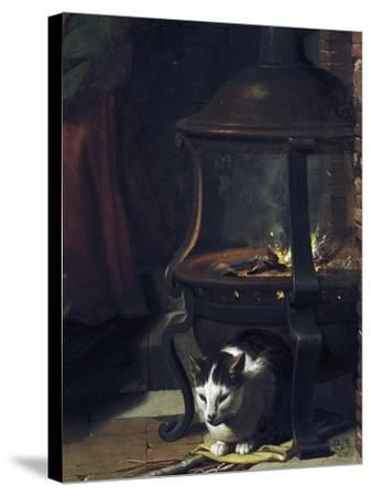 Cat under Burning Brazier, Detail from Infant Jesus Sleeping-Charles Le Brun-Stretched Canvas Print