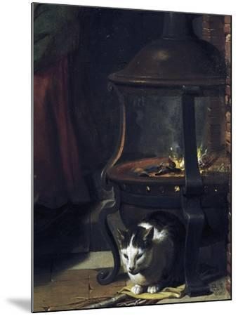 Cat under Burning Brazier, Detail from Infant Jesus Sleeping-Charles Le Brun-Mounted Giclee Print