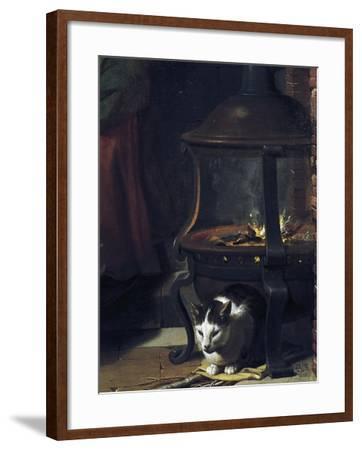 Cat under Burning Brazier, Detail from Infant Jesus Sleeping-Charles Le Brun-Framed Giclee Print