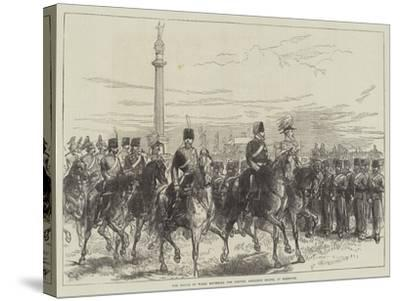 The Prince of Wales Reviewing the Norfolk Artillery Militia at Yarmouth-Charles Robinson-Stretched Canvas Print