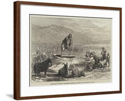 Sketches in Cyprus, Goatherd Watering His Flock in the Plains of Paphos-Charles Robinson-Framed Giclee Print