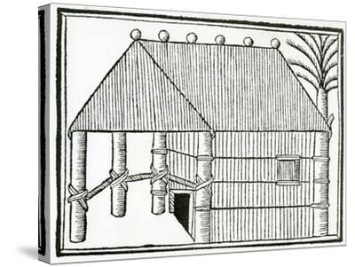 An Indian Habitation from 'La Historia General De Las Indias' 1547-Christopher Columbus-Stretched Canvas Print