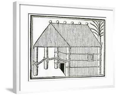 An Indian Habitation from 'La Historia General De Las Indias' 1547-Christopher Columbus-Framed Giclee Print