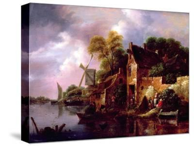 Houses and a Windmill by a River with Boats and Fisherfolk-Claes Molenaer-Stretched Canvas Print