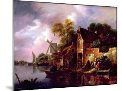 Houses and a Windmill by a River with Boats and Fisherfolk-Claes Molenaer-Mounted Giclee Print