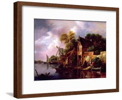 Houses and a Windmill by a River with Boats and Fisherfolk-Claes Molenaer-Framed Giclee Print
