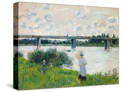 The Promenade with the Railroad Bridge, Argenteuil, 1874-Claude Monet-Stretched Canvas Print