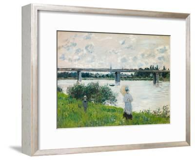 The Promenade with the Railroad Bridge, Argenteuil, 1874-Claude Monet-Framed Giclee Print