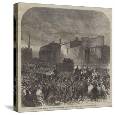 The Fenian Trials at Manchester, the Prisoners Leaving the New Bailey for the Assize Court-Charles Robinson-Stretched Canvas Print