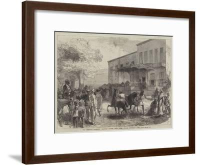 The Abyssinian Expedition, Transport Officers Buying Mules Opposite Shepheard's Hotel, Cairo-Charles Robinson-Framed Giclee Print