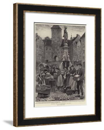 Market Day at Landsberg, Bavaria-Clement Flower-Framed Giclee Print