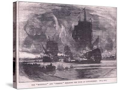 The 'Mountjoy' and the 'Phoenix' Breaking the Boom at Londonderry Ad 1689-Charles William Wyllie-Stretched Canvas Print