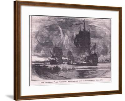 The 'Mountjoy' and the 'Phoenix' Breaking the Boom at Londonderry Ad 1689-Charles William Wyllie-Framed Giclee Print