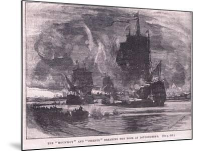 The 'Mountjoy' and the 'Phoenix' Breaking the Boom at Londonderry Ad 1689-Charles William Wyllie-Mounted Giclee Print