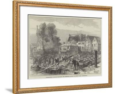 International Four-Oar Boat-Race, the Americans Landing at Biffin's Yard, Hammersmith-Charles Robinson-Framed Giclee Print