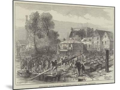 International Four-Oar Boat-Race, the Americans Landing at Biffin's Yard, Hammersmith-Charles Robinson-Mounted Giclee Print