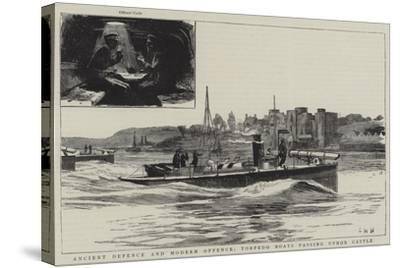 Ancient Defence and Modern Offence, Torpedo Boats Passing Upnor Castle-Charles William Wyllie-Stretched Canvas Print