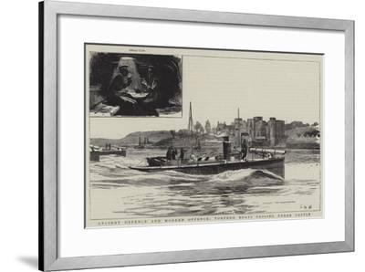 Ancient Defence and Modern Offence, Torpedo Boats Passing Upnor Castle-Charles William Wyllie-Framed Giclee Print