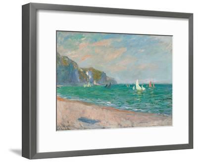 Boats Below the Pourville Cliffs; Bateaux Devant Les Falaises De Pourville, 1882-Claude Monet-Framed Premium Giclee Print