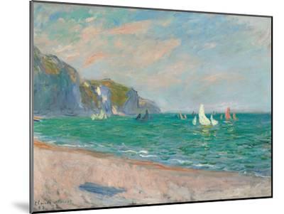 Boats Below the Pourville Cliffs; Bateaux Devant Les Falaises De Pourville, 1882-Claude Monet-Mounted Premium Giclee Print