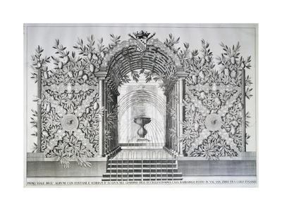 Garden with Fountain of Villa Barbarigo-Domenico Rossetti-Framed Giclee Print