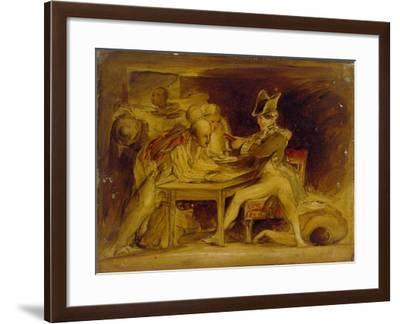 Nelson Sealing the Copenhagen Letter, C. 1835 (Oil on Panel, Mounted as a Drawing)-David Wilkie-Framed Giclee Print