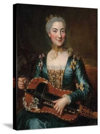 Portrait of a Lady Playing a Hurdy-Gurdy-Donat Nonotte-Stretched Canvas Print
