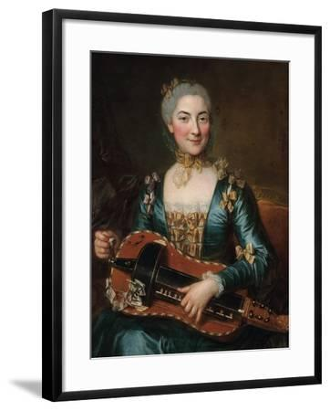 Portrait of a Lady Playing a Hurdy-Gurdy-Donat Nonotte-Framed Giclee Print