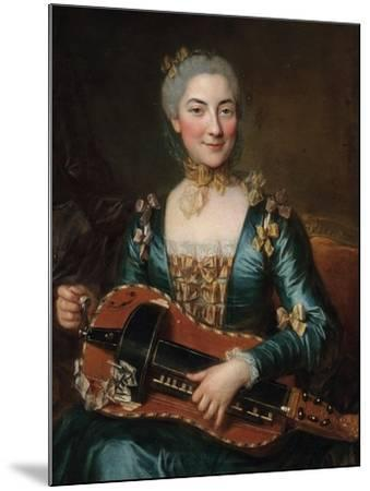 Portrait of a Lady Playing a Hurdy-Gurdy-Donat Nonotte-Mounted Giclee Print