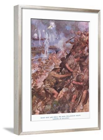 Landing at Gallipoli. Midst Shot and Shell We Made the Narrow Beach-Cyrus Cuneo-Framed Giclee Print