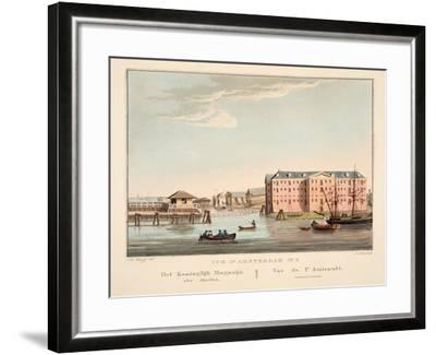 Vue D'Amsterdam No.5. Het Koninglijk Magazijn Der Marine. Vue De L'Amirautè, 1825-Cornelis de Kruyff-Framed Giclee Print