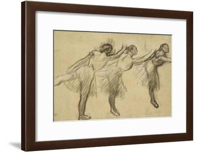 Three Studies of a Ballerina (Charcoal Rubbed and Touched with Pink and Brown Pastels on Thin-Edgar Degas-Framed Giclee Print