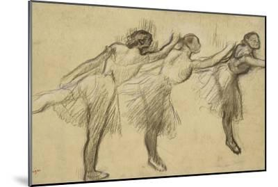 Three Studies of a Ballerina (Charcoal Rubbed and Touched with Pink and Brown Pastels on Thin-Edgar Degas-Mounted Giclee Print