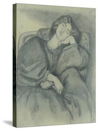Study of Jane Morris Asleep in an Upholstered Armchair-Dante Gabriel Charles Rossetti-Stretched Canvas Print