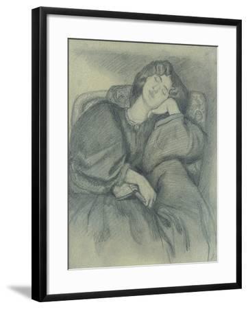 Study of Jane Morris Asleep in an Upholstered Armchair-Dante Gabriel Charles Rossetti-Framed Giclee Print