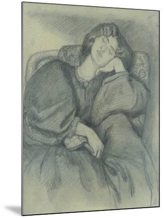 Study of Jane Morris Asleep in an Upholstered Armchair-Dante Gabriel Charles Rossetti-Mounted Giclee Print