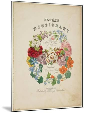 Frontispiece and Title Page, Wreath of Flowers, from Flora's Dictionary, 1838-E. W. Wirt-Mounted Giclee Print