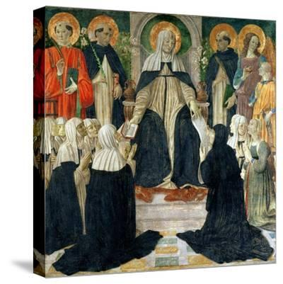 St. Catherine of Siena as the Spiritual Mother of the 2nd and 3rd Orders of St. Dominic-Cosimo Rosselli-Stretched Canvas Print