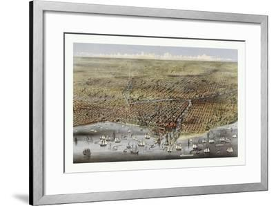 Bird's Eye View of Chicago, Illinois from Above Lake Michigan, Circa 1874, USA, America-Currier & Ives-Framed Giclee Print