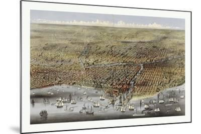 Bird's Eye View of Chicago, Illinois from Above Lake Michigan, Circa 1874, USA, America-Currier & Ives-Mounted Giclee Print