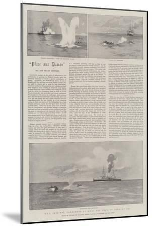 HMS Crescent, Commanded by HRH the Duke of York, at Sea-Eduardo de Martino-Mounted Giclee Print