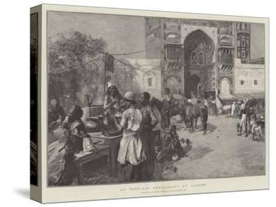An Open-Air Restaurant at Lahore-Edwin Lord Weeks-Stretched Canvas Print