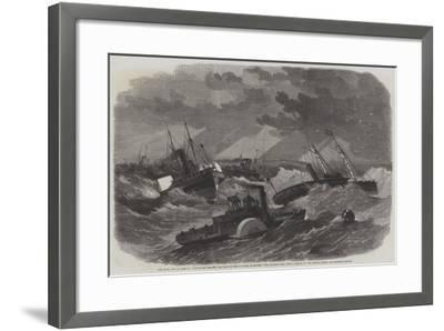The Civil War in America, the Picket Leading the Ships of the Burnside Expedition over Hatteras Bar-Edwin Weedon-Framed Giclee Print